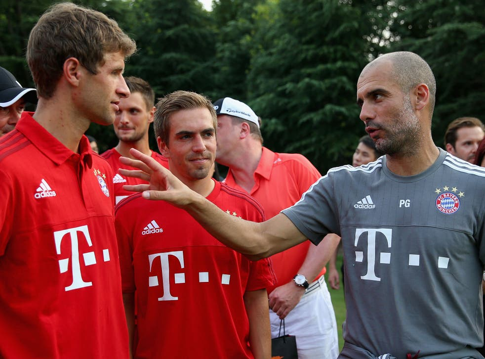 Pep Guardiola with Thomas Muller and Philipp Lahm
