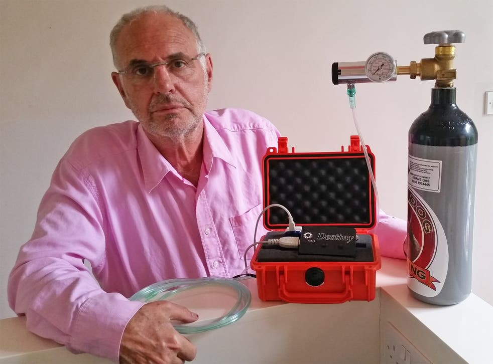 Philip Nitschke, nicknamed Dr Death, with his new Destiny machine