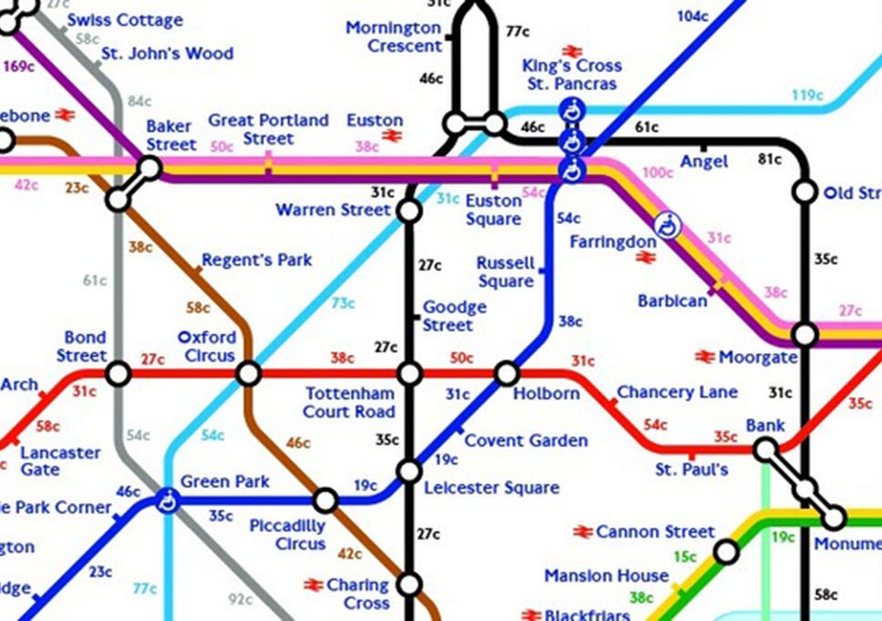 London Subway Map Russell Station.Tube Strike The Map That Shows Calories Burnt Walking Between