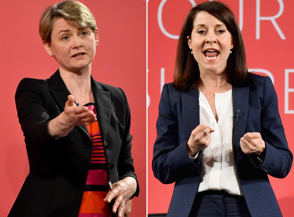 Centrist candidate Yvette Cooper and Blairite standard-bearer Liz Kendall, the two female candidates in the race to replace Ed Miliband