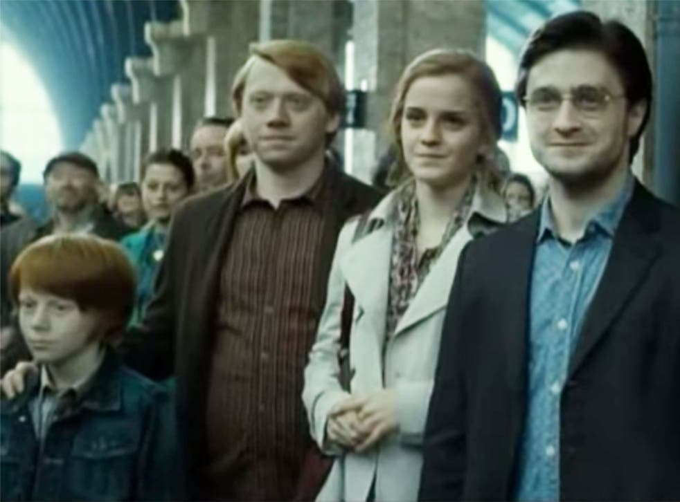 Ron Weasley, Hermione Granger and Harry Potter wave their children off to Hogwarts at the end of Harry Potter