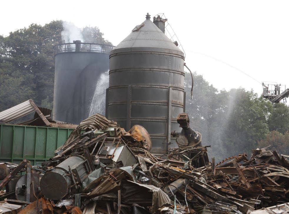 The aftermath following the huge explosion at the Wood Treatment Limited plant in the village of Bosley, Cheshire