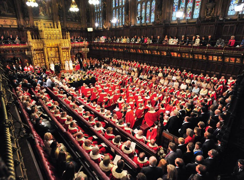 Peers are cheek by jowl at the State Opening  of Parliament