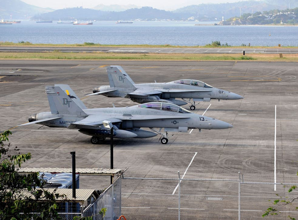 US fighter jets on the ground at Subic Bay