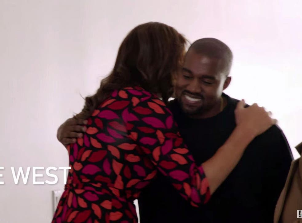 Cailtyn Jenner greets Kanye West in a segment for I am Cait