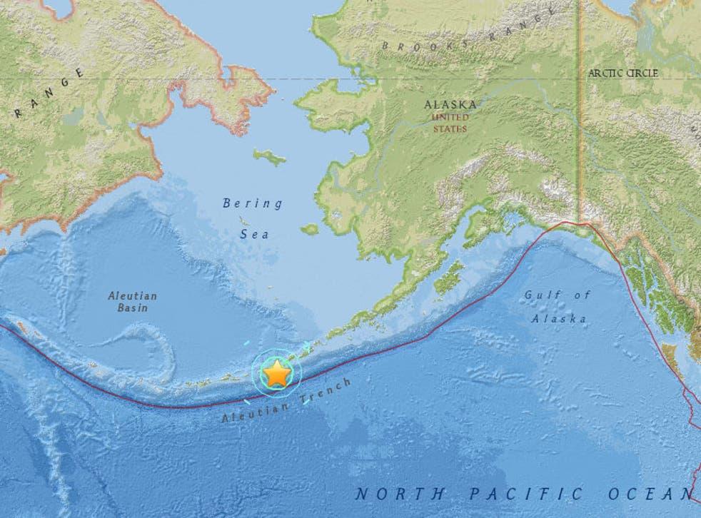 An map showing where the quake hit the Aleutian Islands