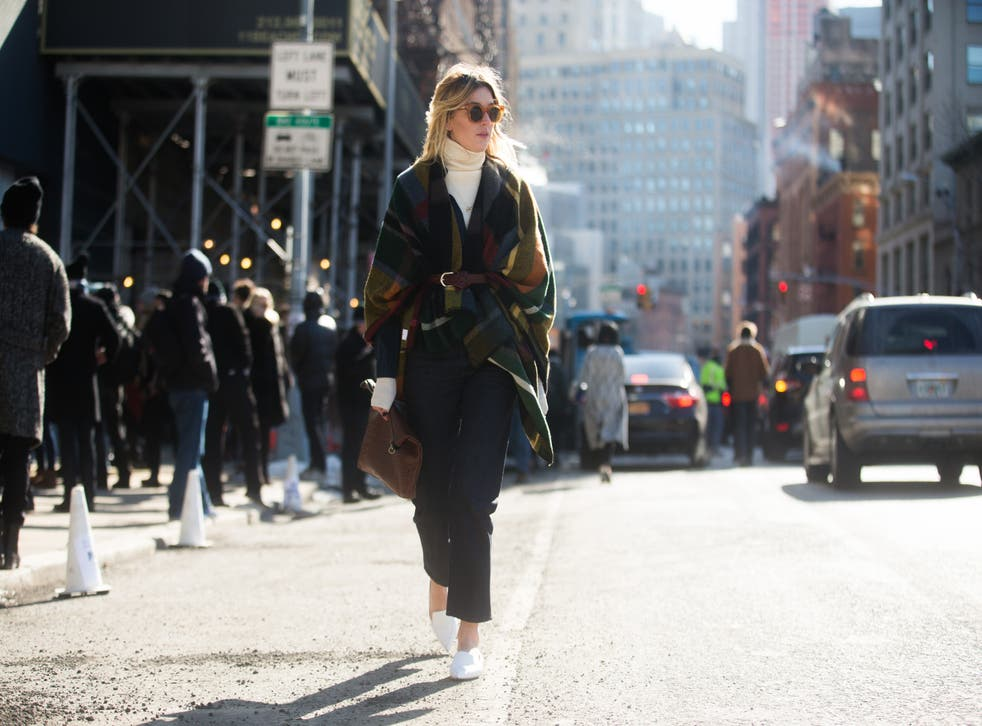 Camille Charriere in Jason Wu on the Streets of Manhattan on February 13, 2015 (Getty)