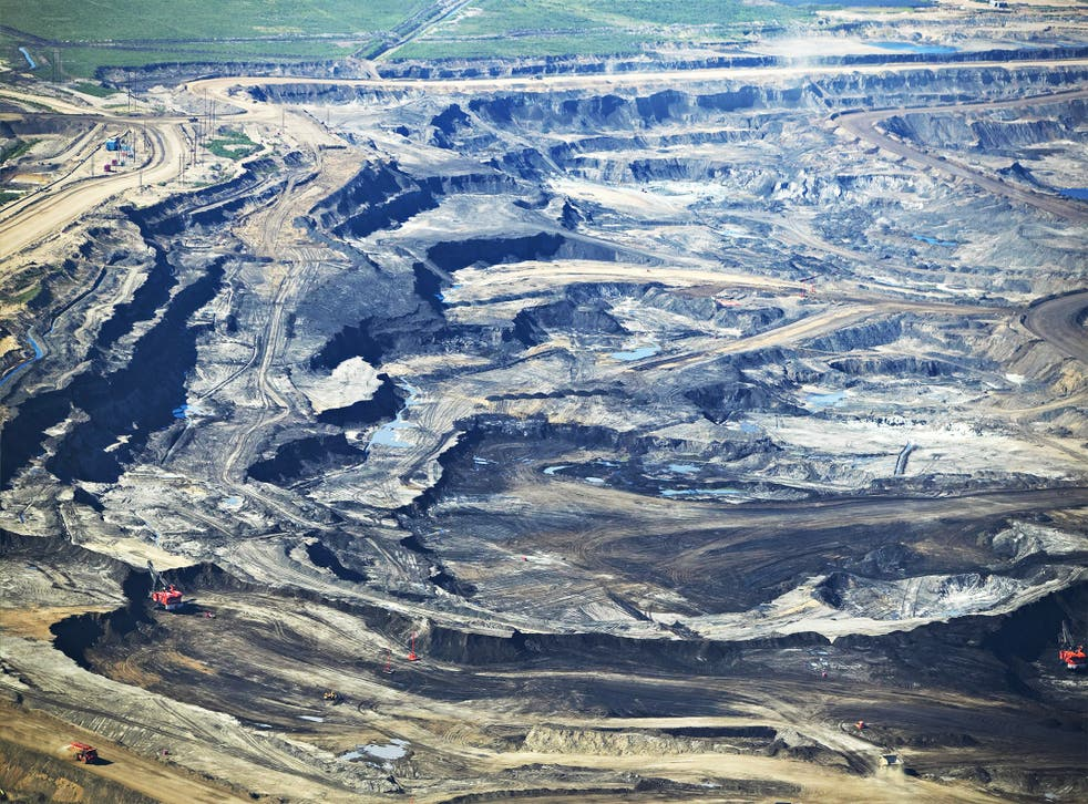Digging deeper: once the glaciers have melted there will be no more water to power the oil sands, such as those in Athabasca, Canada
