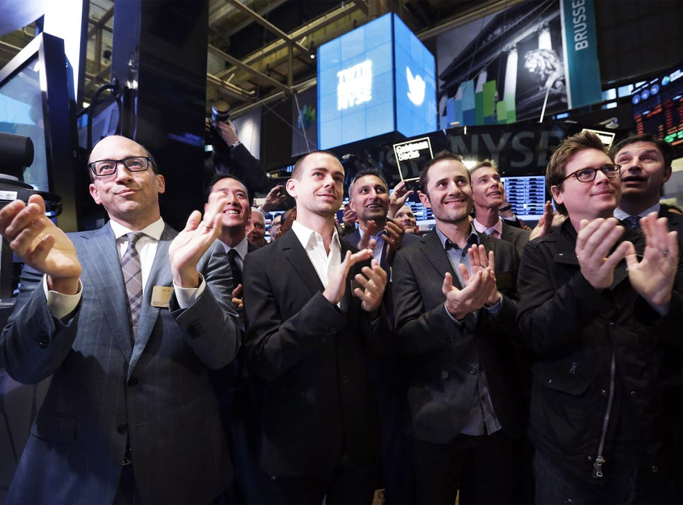 Going up:  Twitter's founders, including Jack Dorsey (second from left) at the New York Stock Exchange