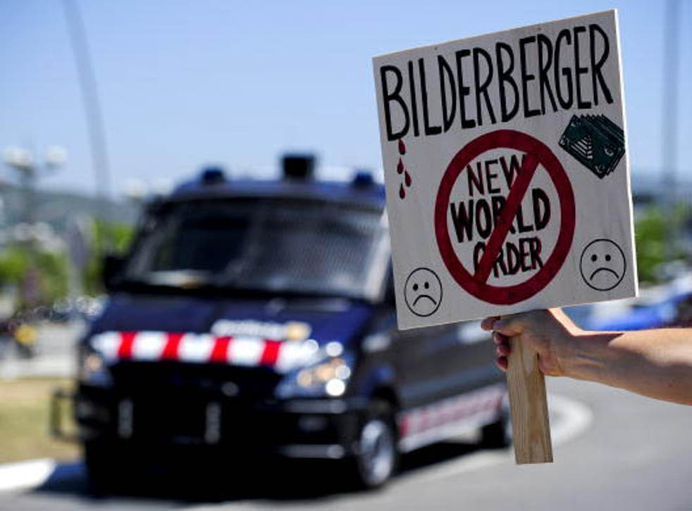 Conspiracy theorists protest against the secretive Bilderberg conference which they believe is the meeting place of the new world order