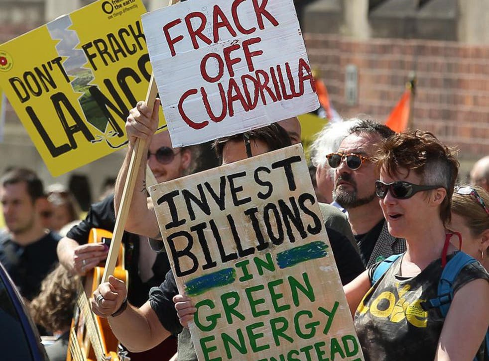 Anti-fracking protesters in Lancashire call for investment in green energy
