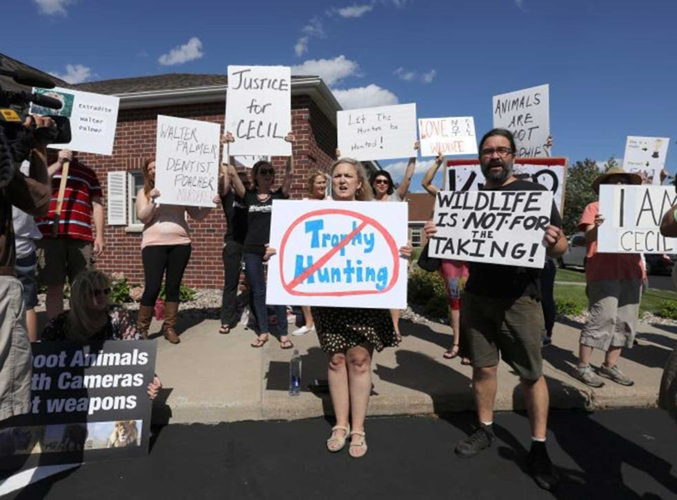 Protesters outside Walter Palmer's practise in Minnesota