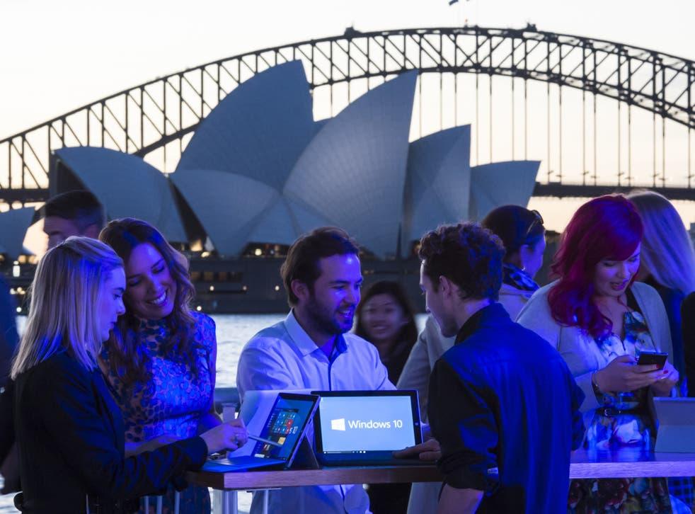 Fans celebrate the launch of Windows 10 in Sydney