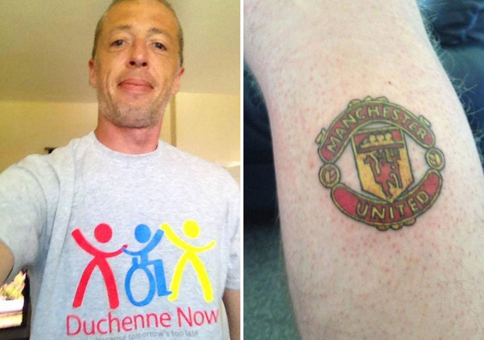 b2cf981f Manchester City fan gets Manchester United badge tattoo after raising over  £10,000 to help his sick son
