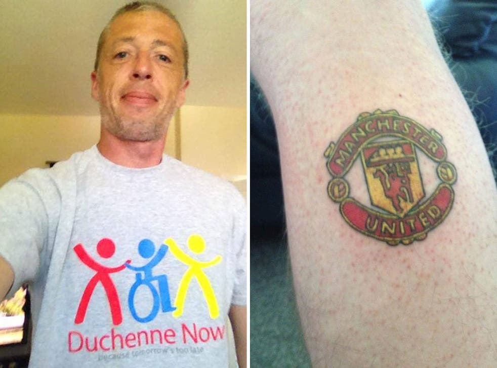 Manchester City fan Mark Pinder has had a tattoo done of United's badge after raising money for his sick son Kirk
