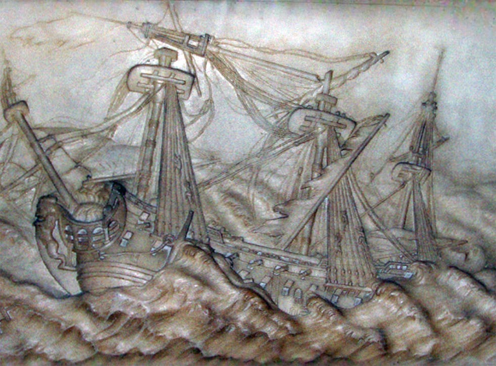 Detail of the Victory sinking on 4 October 1744 on the Balchen Memorial in Westminster Abbey, London