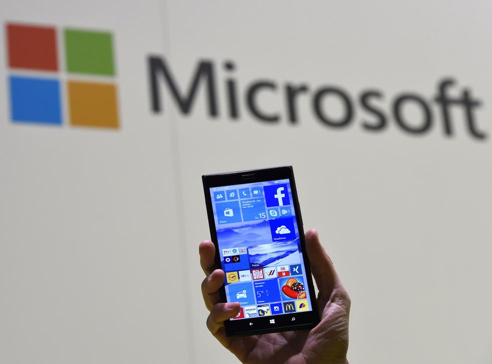Windows 10 running on a phone at a technology show in March