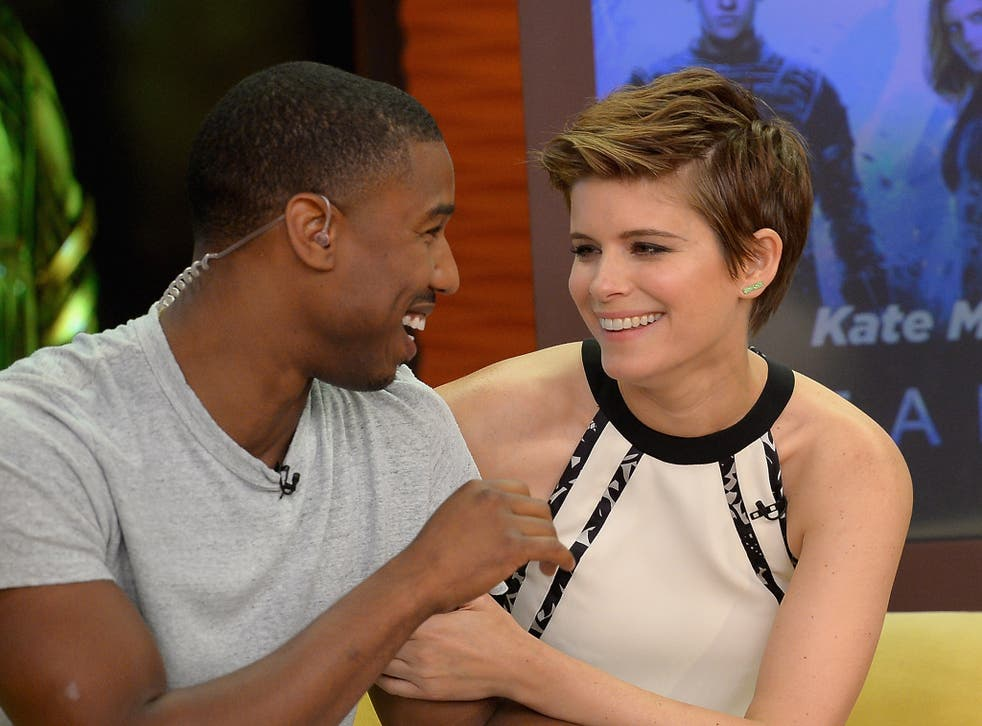 Michael B. Jordan and Kate Mara are seen on the set of 'Despierta America' to promote the film 'Fantastic Four'