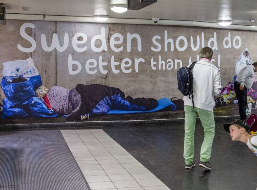 One part of the advert, which shows pictures of rough sleepers with the words 'Sweden should do better than this'