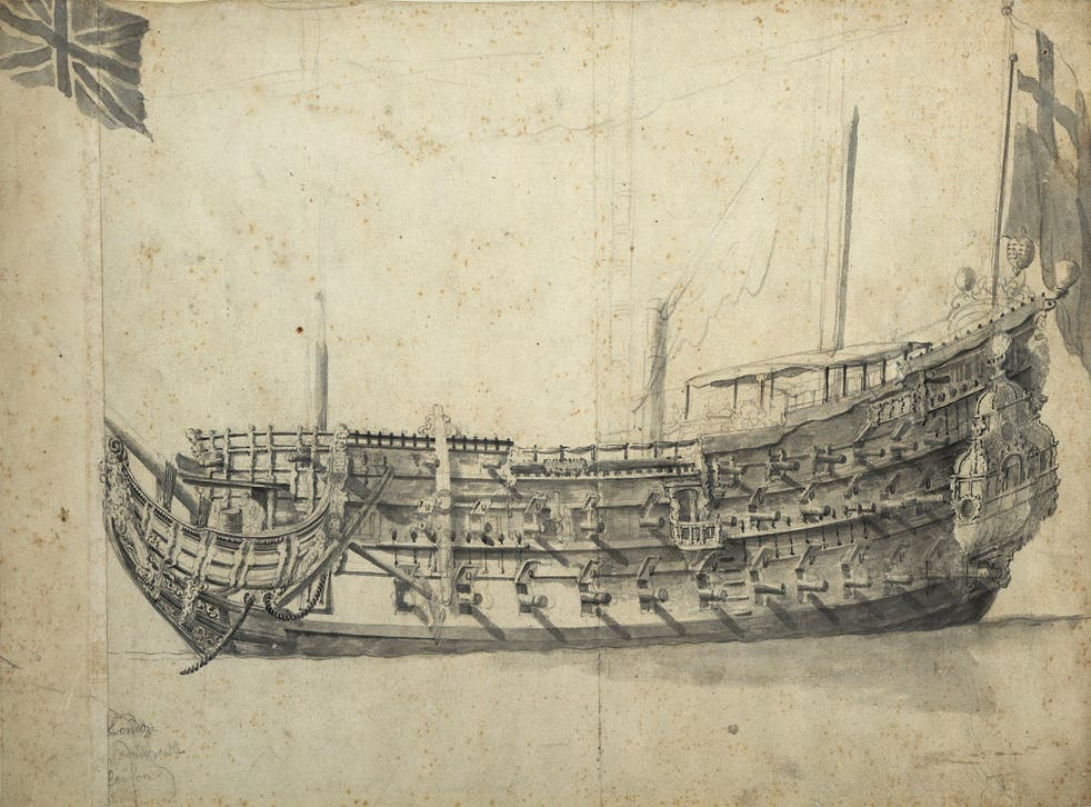 Drawing, c 1660, of the London by Willem Van de Velde