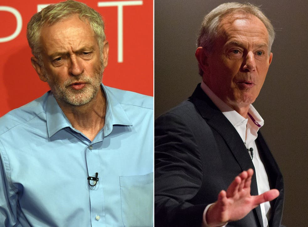 Labour leadership contender Jeremy Corbyn and the party's former Prime Minister, Tony Blair