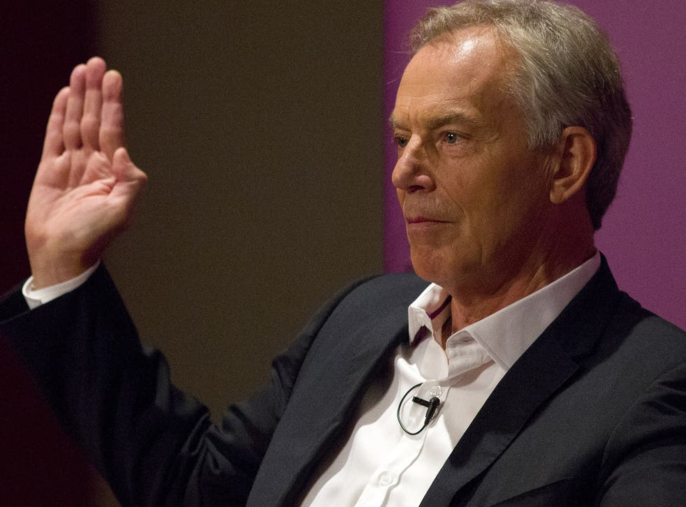 Tony Blair gestures as he speaks at an event attended by Labour supporters in central London on July 22, 2015