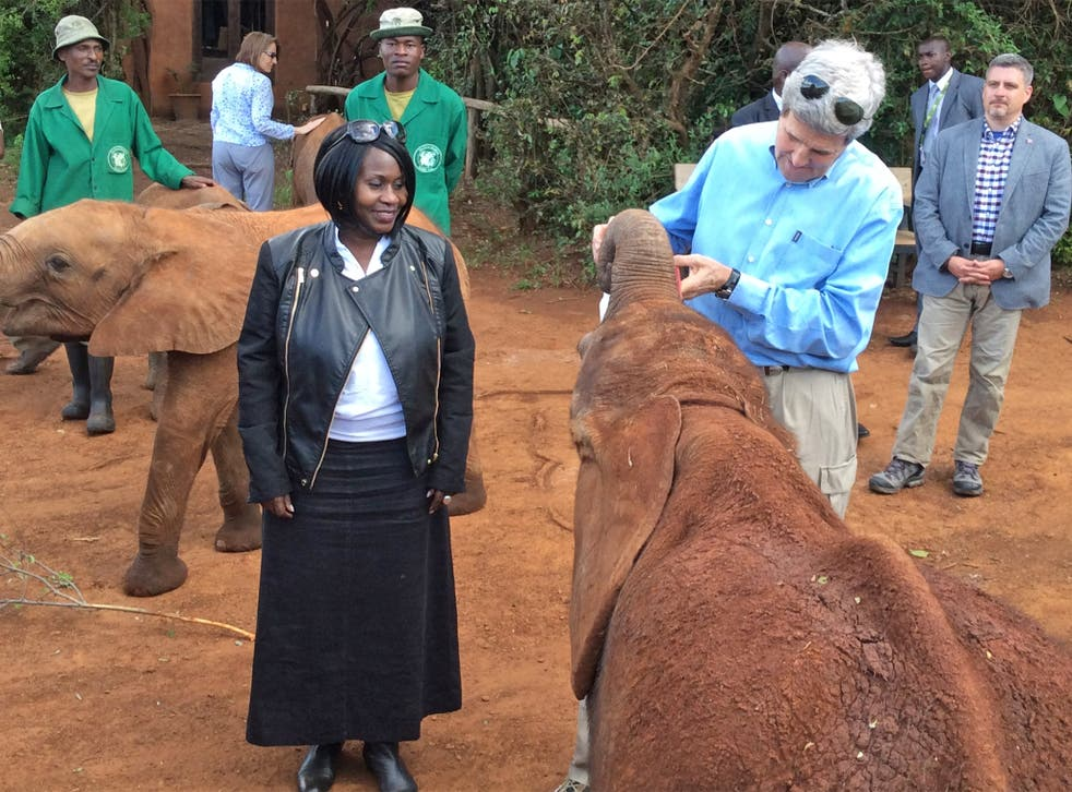 Professor Judi Wakhungu and John Kerry, the US Secretary of State, meet conservation workers