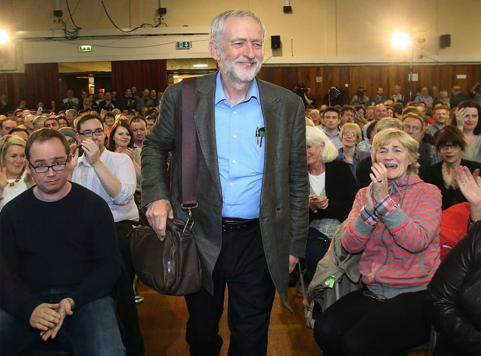 Jeremy Corbyn, pictured at a debate in Belfast on Wednesday night, said people young and old are talking about an alternative to austerity