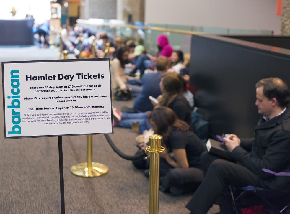Queue at Barbican Centre to buy Hamlet tickets