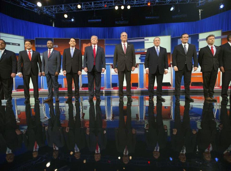 Republican presidential candidates from left, Chris Christie, Marco Rubio, Ben Carson, Scott Walker, Donald Trump, Jeb Bush, Mike Huckabee, Ted Cruz, Rand Paul, and John Kasich (AP)