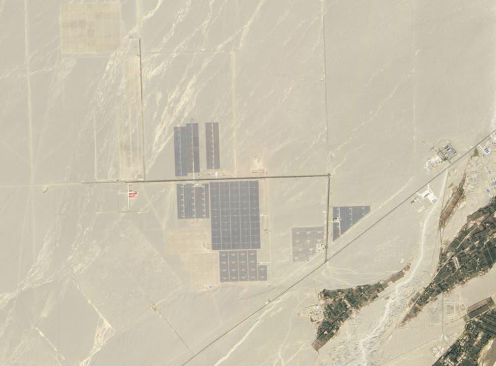 View of China solar power plant in Gobi desert
