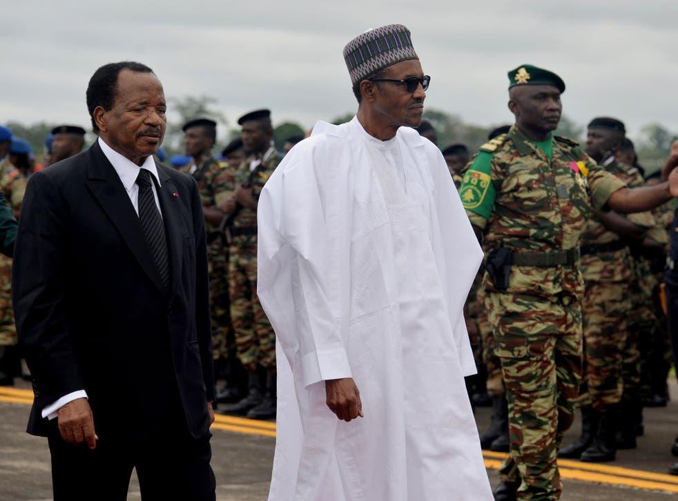 Muhammadu Buhari (centre) with Paul Biya of Cameroon