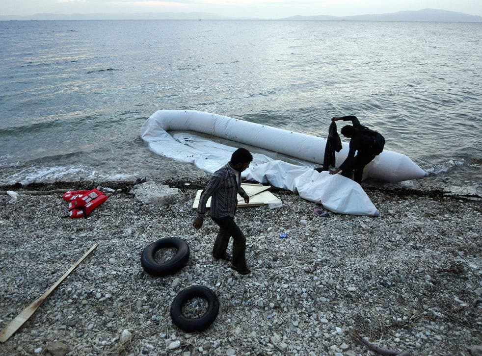 Migrants are taken to Lesbos on dinghys by human smugglers