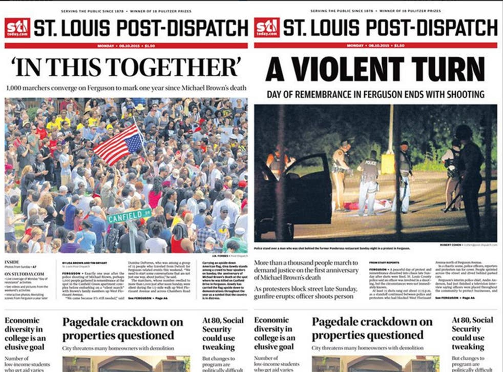 The St Louis Post-Dispatch changes its headline after a teenager is shot by police