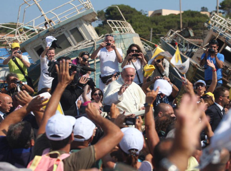Pope Francis on an earlier trip to Lampedusa