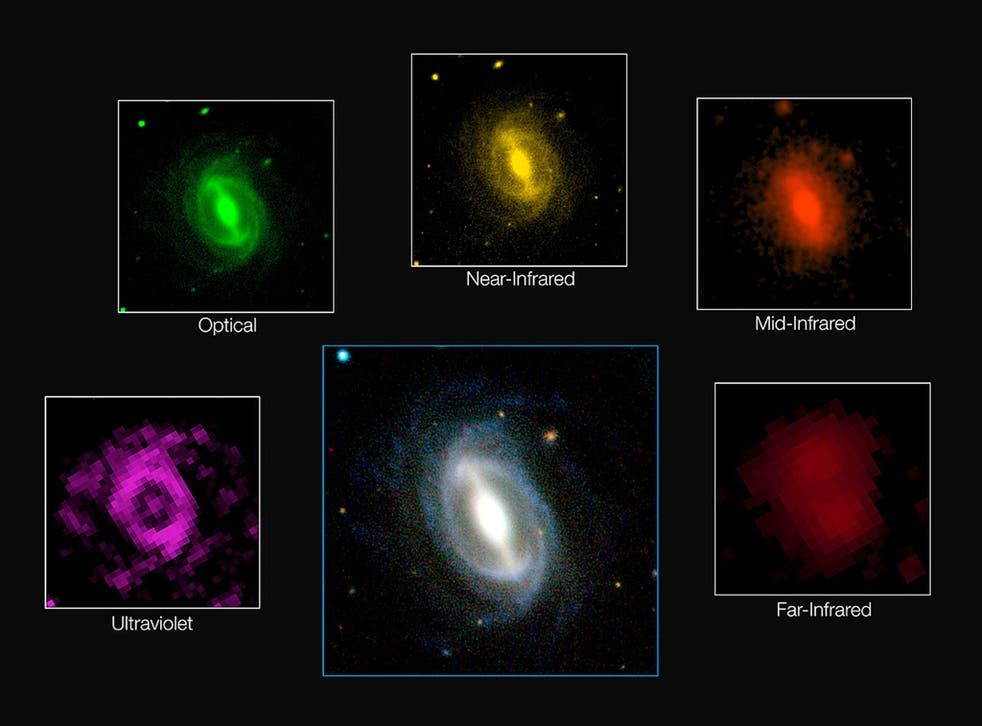 A photo issued by the European Southern Observatory showing how a typical galaxy appears at different wavelengths
