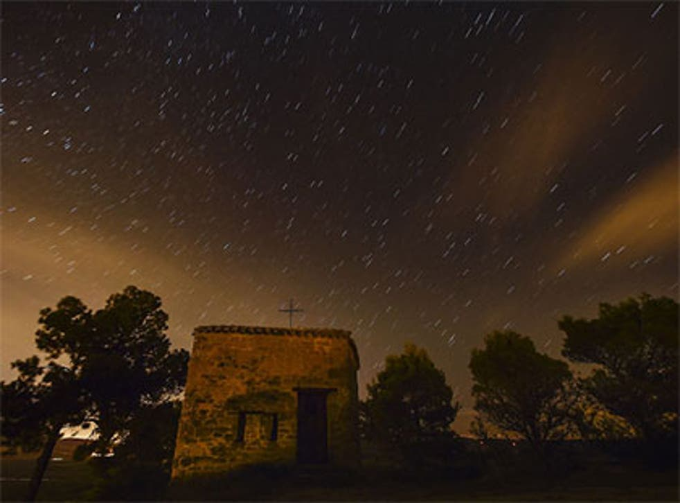 A view of the Perseid meteor shower in Obanos, northern Spain on 11 August