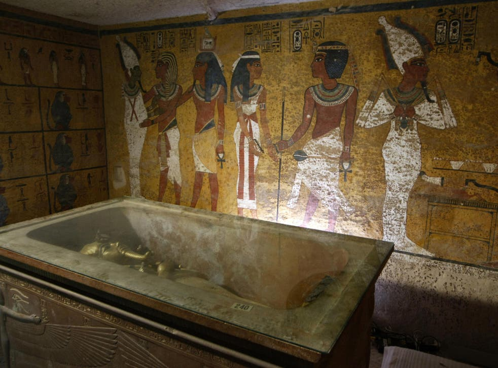 The sarcophagus of King Tutankhamun, known as the 'Child Pharaoh' remains empty in its burial chamber after the mummy was placed in a glass urn designed to protect the remains of the ancient king from humidity and other contamination brought by a constant