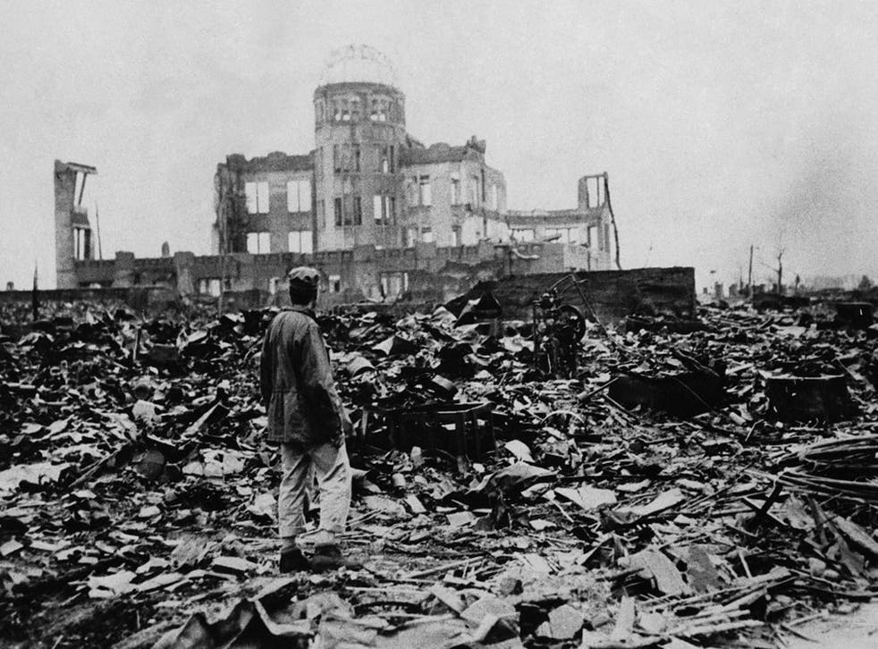 World War II, after the explosion of the atom bomb in August 1945, Hiroshima, Japan