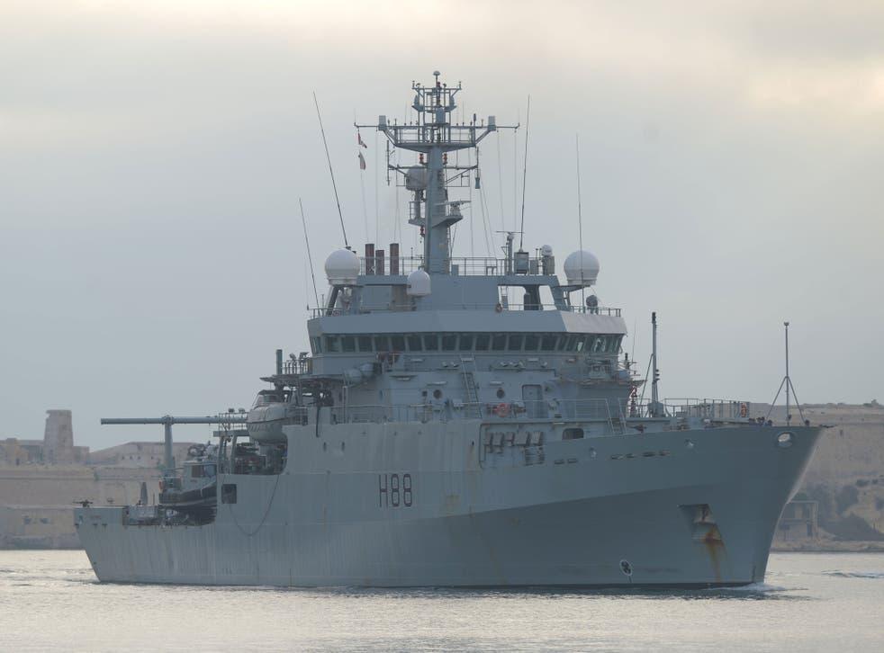 The HMS Enterprise is conducting surveillance work along the Libyan coast