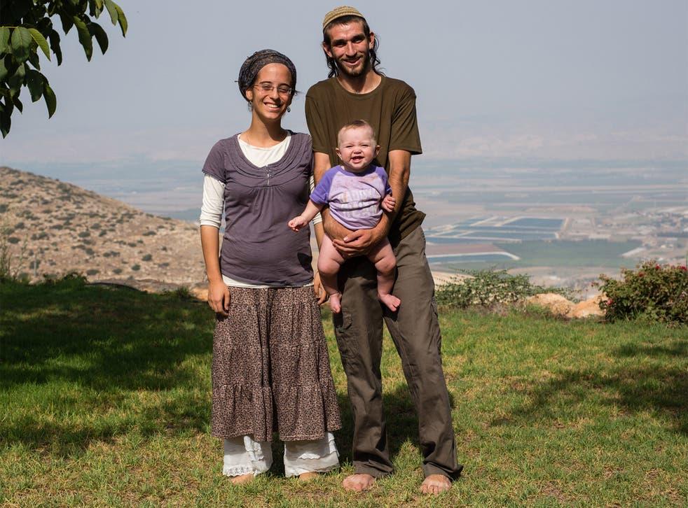 Aviya Morris with her husband Raphael and their daughter Liberty Zion in Merav, a religious Kibbutz on Mount Avinadav