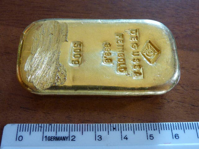 The gold bar that was found by a teenager when swimming in a lake near Berchtesgaden