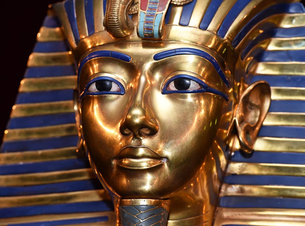 The burial mask of Egyptian Pharaoh Tutankhamun, at an exhibition in Munich earlier this year
