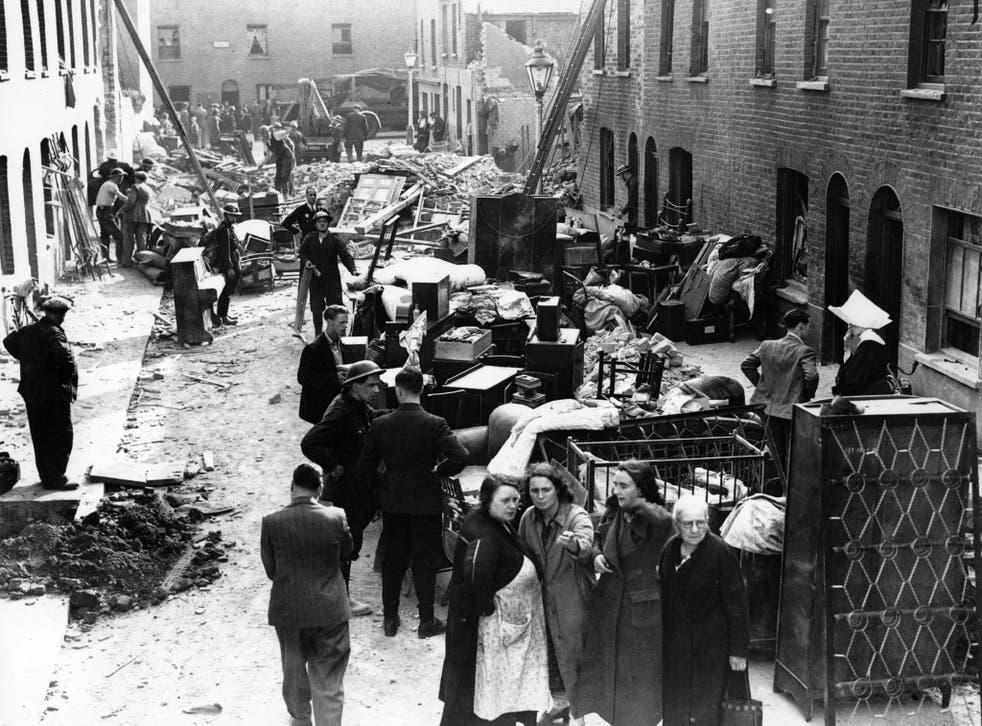 The women's war: a London street after a night air raid during World War Two
