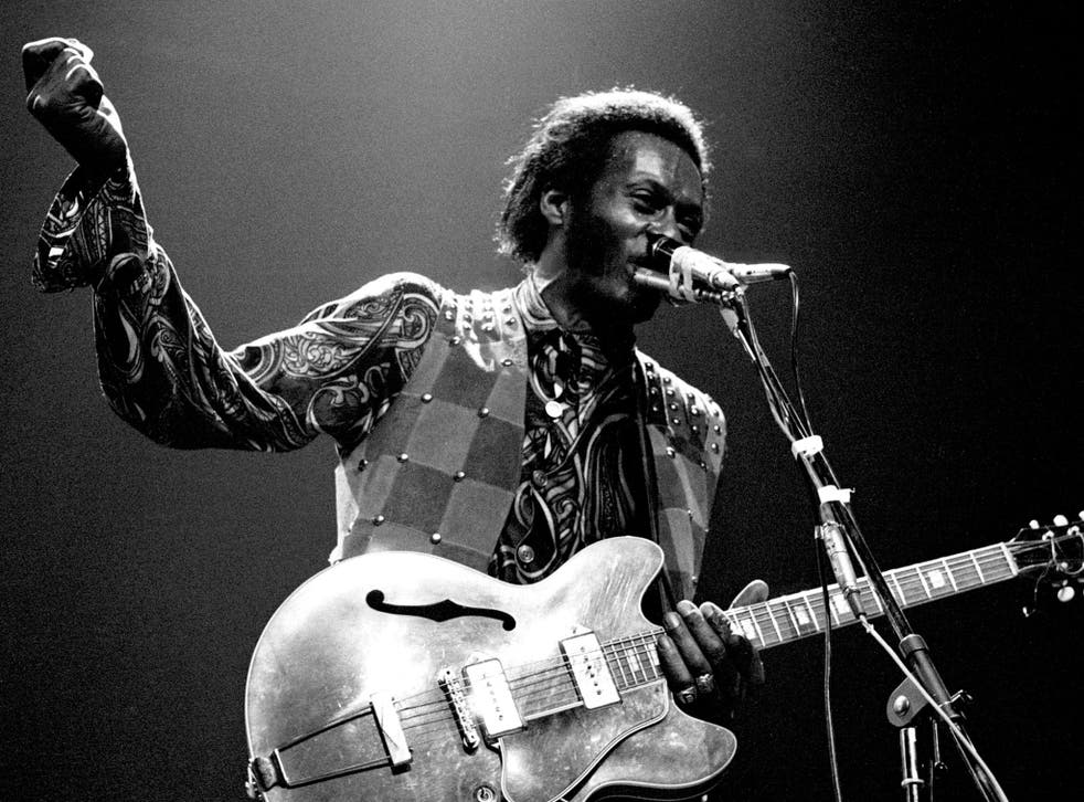Electrifying: Chuck Berry performs at Wembley Stadium in 1972
