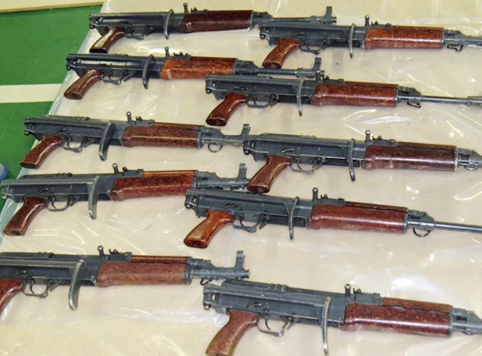 The automatic assault rifles were seized during a raid in Kent