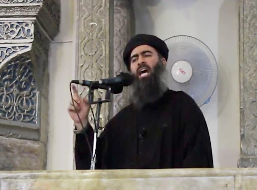 Abu Bakr al-Baghdadi, delivering a sermon at a mosque in Iraq