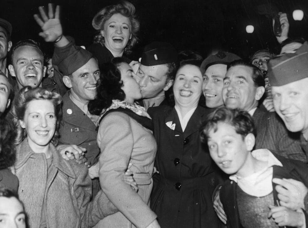 Londoners partied in Piccadilly Circus on VJ Day in 1945