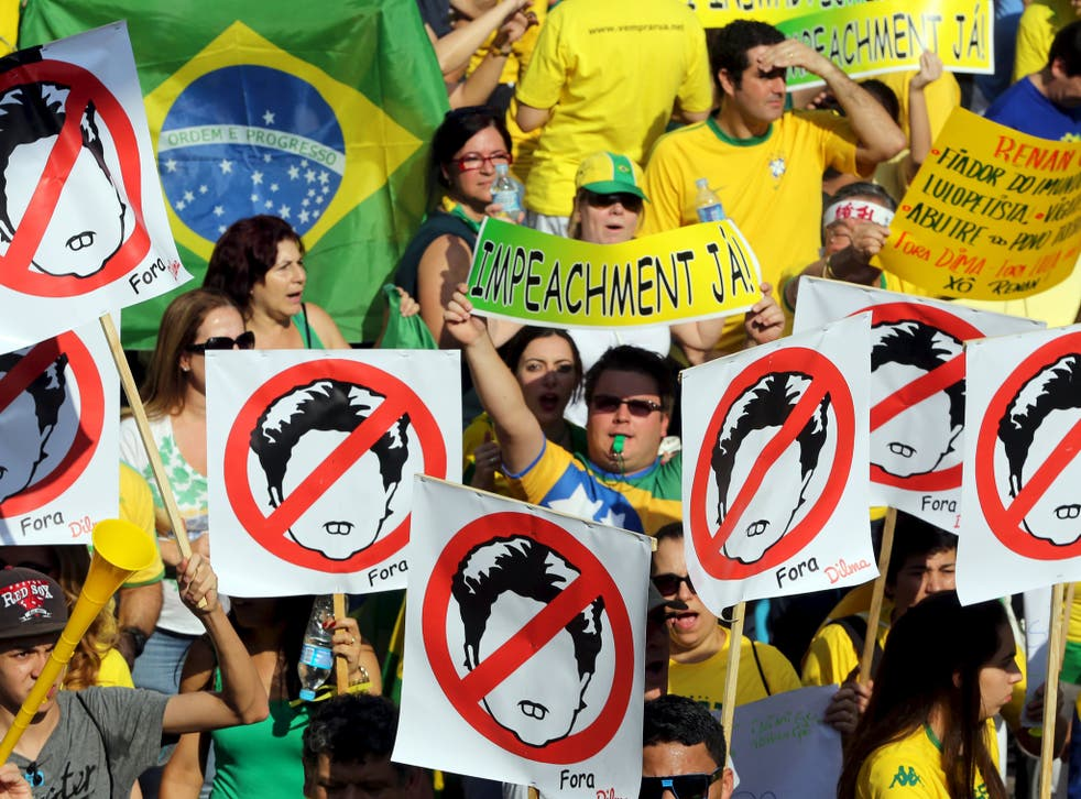 Demonstrators in Sao Paulo attend a protest against Brazil's President Dilma Rousseff, part of nationwide protests calling for her impeachment