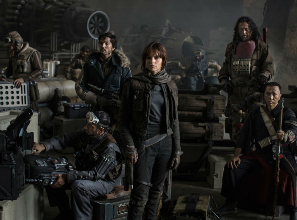 Star Wars: Rogue One cast. Left to Right: Riz Ahmed, Diego Luna, Felicity Jones, Jiang Wen and Donnie Yen
